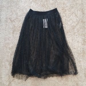Zara sheer tulle skirt with pearls